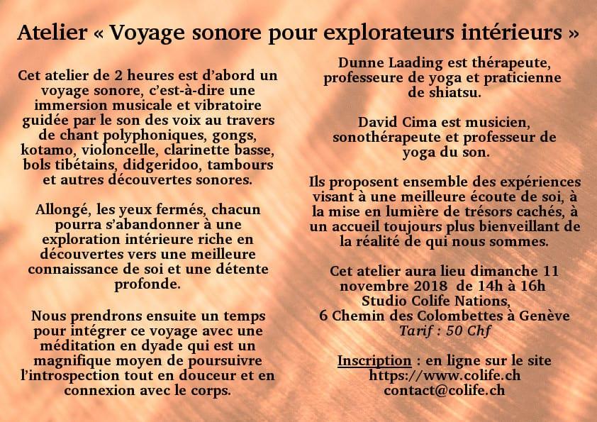 Atelier Voyage sonore, Yoga Genève